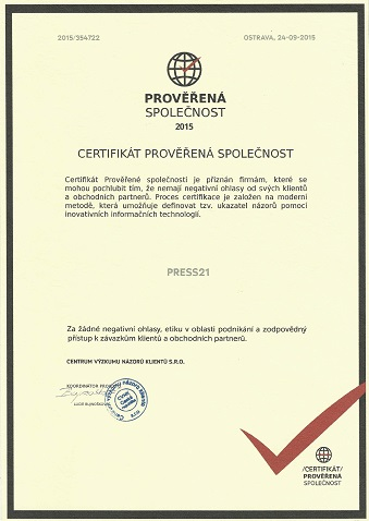 Certifikat proverena spolecnost press21sro